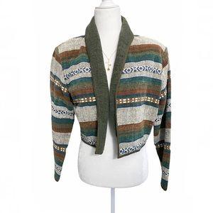 Aztec Southwest tribal print crop tapestry jacket